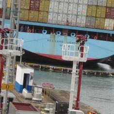 Gates closed in Gatun Locks on adjacent ship.