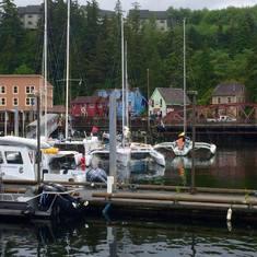 Racing yachts in Ketchikan Harbor.