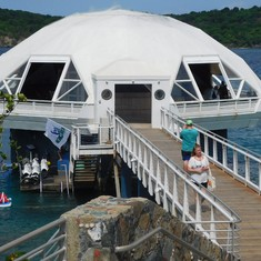 The underwater observation dome at Coral World