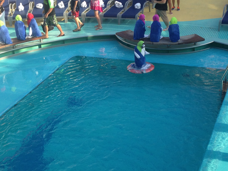 Towel animals floating in the pool - Carnival Magic
