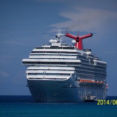 Our anchored ship at Half Moon Cay.