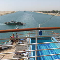 Suez Canal Transit - Some of the ships behind us in our Suez Canal convoy, we were in the lead.
