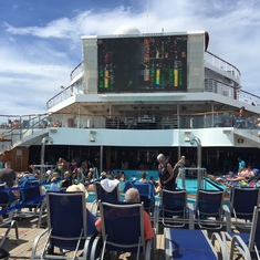 Deck 9 where the buffets are and pools movie screen.