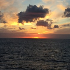 Beautiful sunset view from our balcony cabin