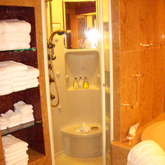 Shower still with Glass Door, Feb 2012 before Dry Dock. Same Cabin, 7001