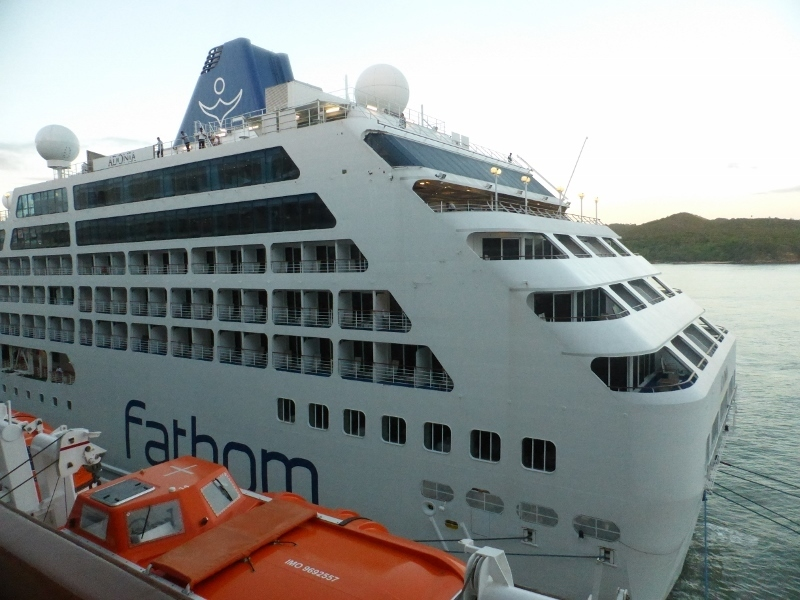 The Carnival Fatham docked nest to us in Amber Cove - Koningsdam