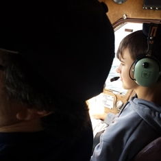 My son as copilot on our flightseeing tour in Ketchican