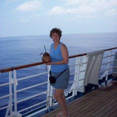 Monkey head drink on deck.