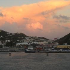 Philipsburg, St. Maarten - The port of St. Maarten in the evening