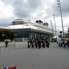 Military Band playing for Rotal Family, Disney Magic used as a backdrop