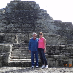 My husband and I enjoying one of the Mayan Temples on our tour in Costa Maya