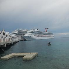 Carnival Freedom & Breeze docked in Cozumel