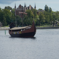 The Viking ship/restaurant coming into the city