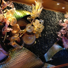 Beautiful blown glass touches as you first enter the ship.