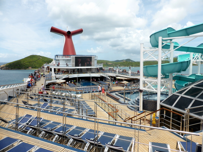 Looking down on the main pool area - Carnival Liberty