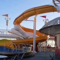 Kid's slide into the Mickey Pool