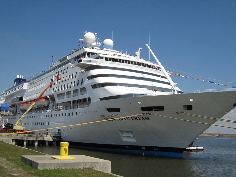 "First cruise ship now retired,""Norwegian Dream""."