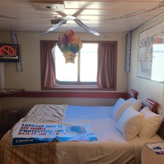 Our ocean view stateroom with birthday decorations