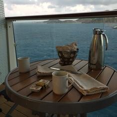 Balcony coffee & croissants