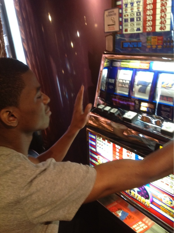 My teen pretending to gamble lol - Carnival Ecstasy