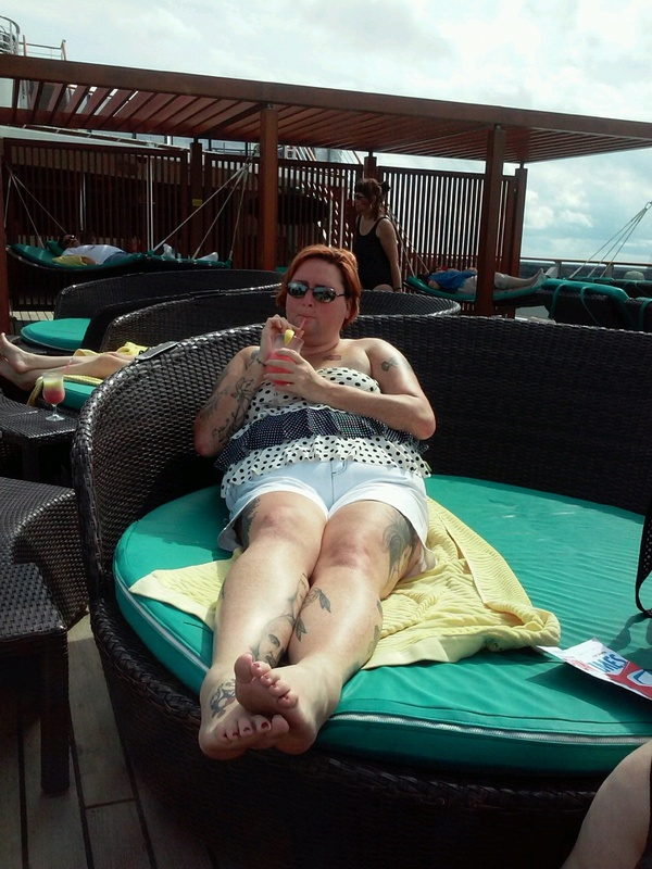 enjoying the sun n shadeaid - Carnival Pride