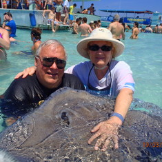 Paul and Susan at Stingray City sandbar.