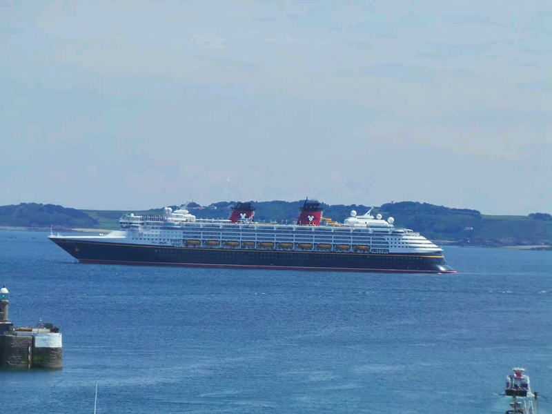 Disney Magic anchored off Guernsey for the first time.