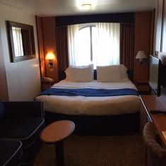 Comfy king size bed.  Room has plenty of storage.