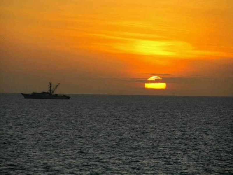 Sunrise anchored off Panama City