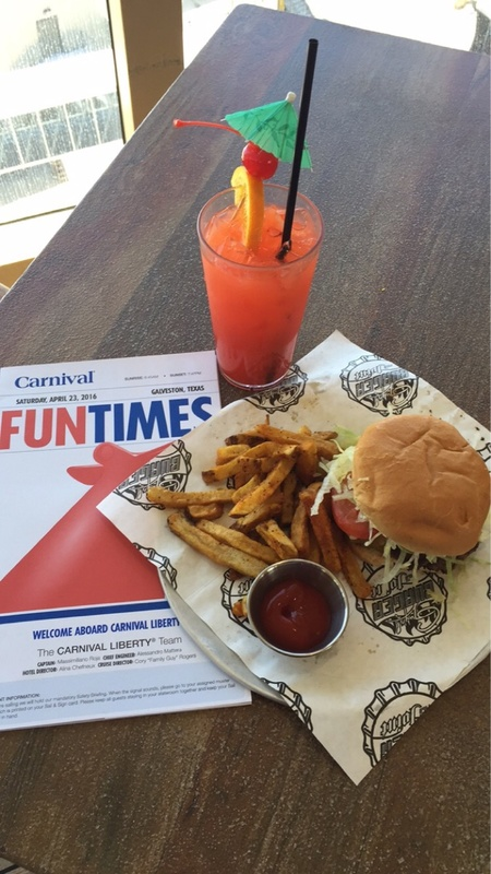 First stop onboard -- Guy's Burgers on lido - Carnival Liberty
