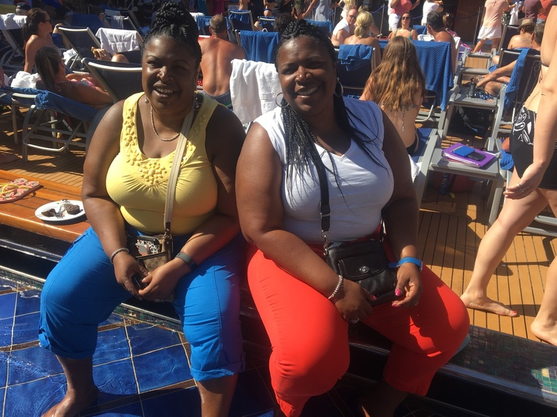 My twin sisters at sea day - Carnival Splendor