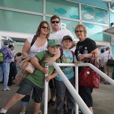 Family minus husband arriving at the Miami NCL terminal